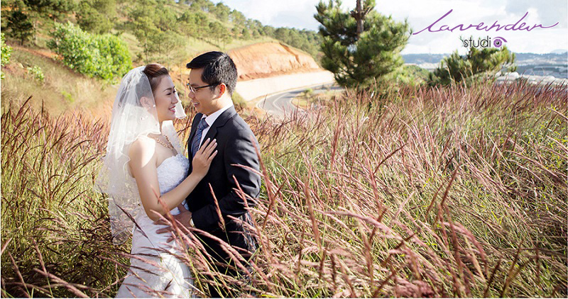 chụp hình cưới tại cánh đồng cỏ lông chồn đà lạt